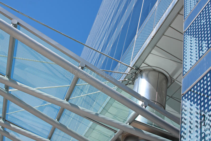 Details of a glass and steel buildin stock photography