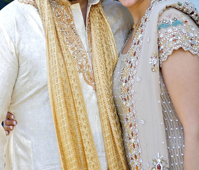 Details of groom`s and bride`s wear at the punjabi wedding,. Indian wedding accessories stock image