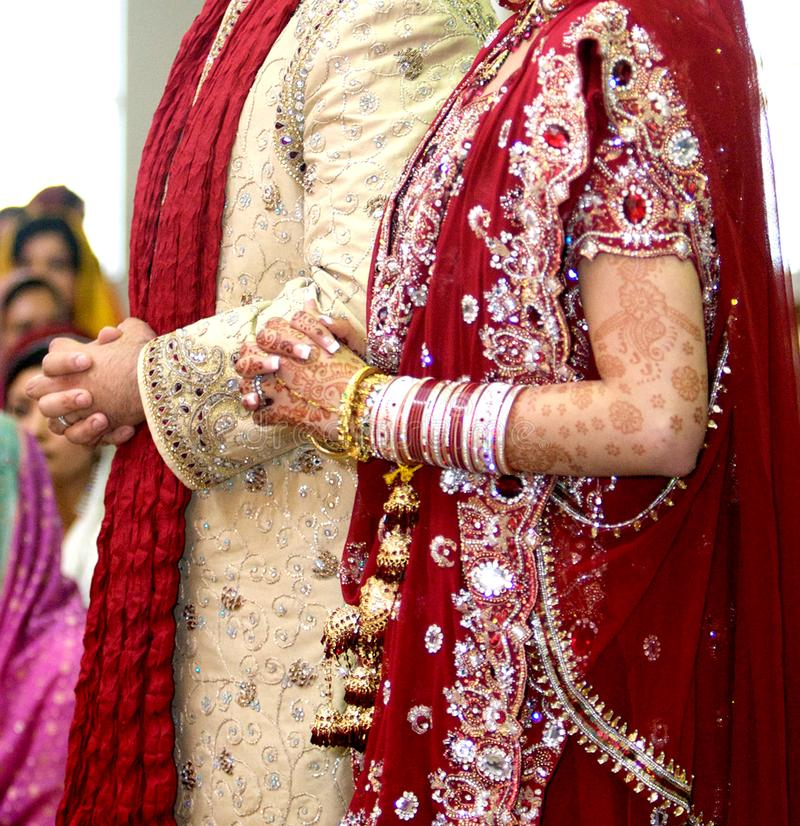 Details of groom`s and bride`s wear at the punjabi wedding,. Indian wedding accessories stock photo