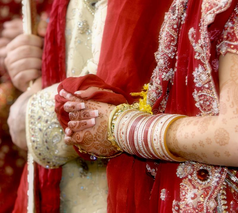 Details of groom`s and bride`s wear at the punjabi wedding,. Indian wedding accessories stock images