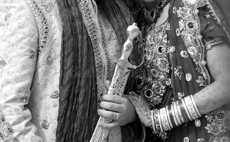 Details of groom`s and bride`s wear at the punjabi wedding,. Indian wedding accessories stock photos