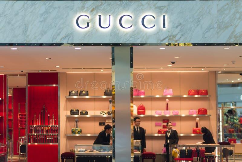 Details of Gucci store at Suvarnabhumi International Airport, Bangkok, Thailand. Close up. Bangkok, Thailand - December 19, 2016: Details of Gucci store at stock photos