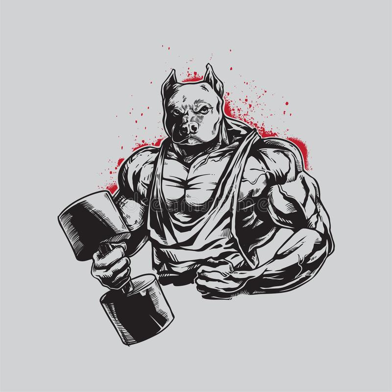 Details Handdrawing-Bodybuilder Pitbull für Logo Mascot lizenzfreie abbildung