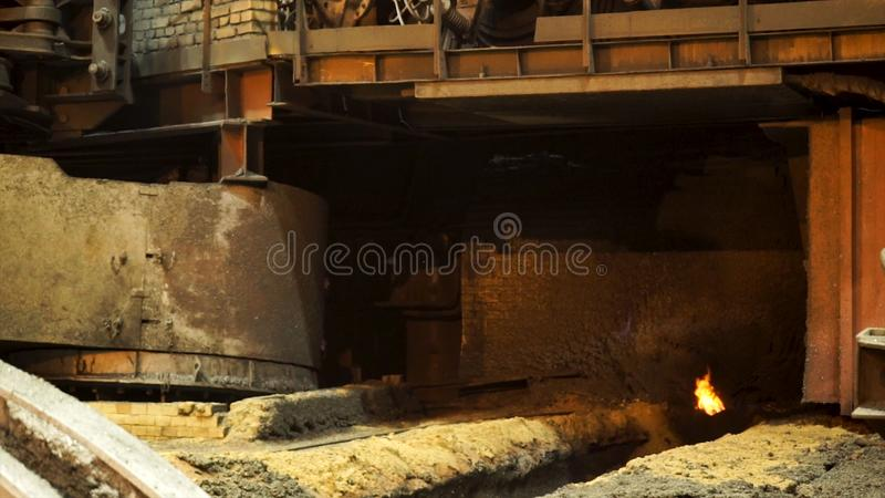 Details of the hot shop at the metallurgical factory, heavy industry concept. Stock footage. Machines and equipment at. Details of the hot shop at the stock photo