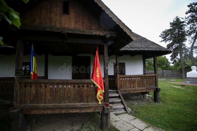 Details with the house in which Nicolae Ceausescu, Romanian communist dictator, was born in 1918. Scornicesti, Olt, Romania - May 01, 2019: Details with the royalty free stock image