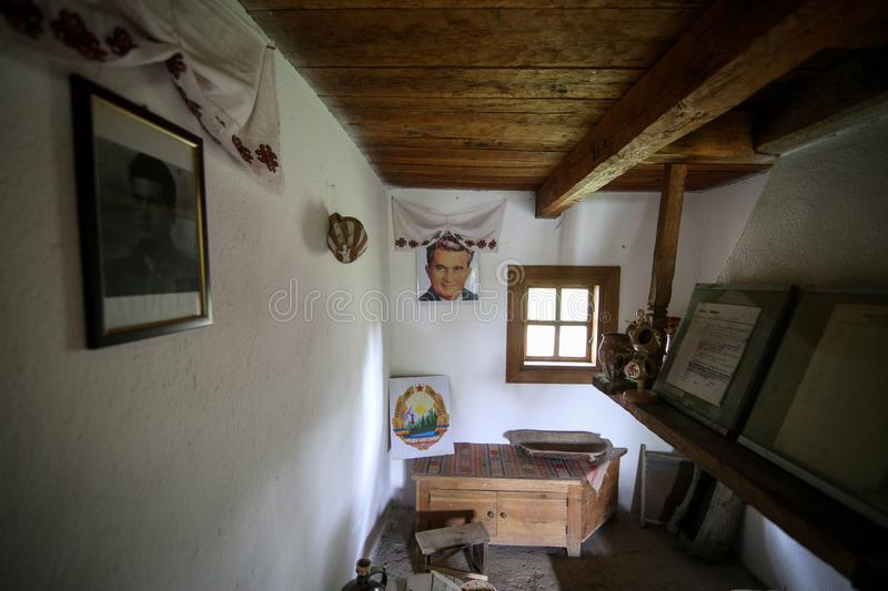 Details with the house in which Nicolae Ceausescu, Romanian communist dictator, was born in 1918. Scornicesti, Olt, Romania - May 01, 2019: Details with the stock photo