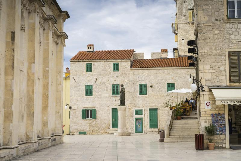 Details of houses and buildings in the old city of Sibenik in Croatia royalty free stock images
