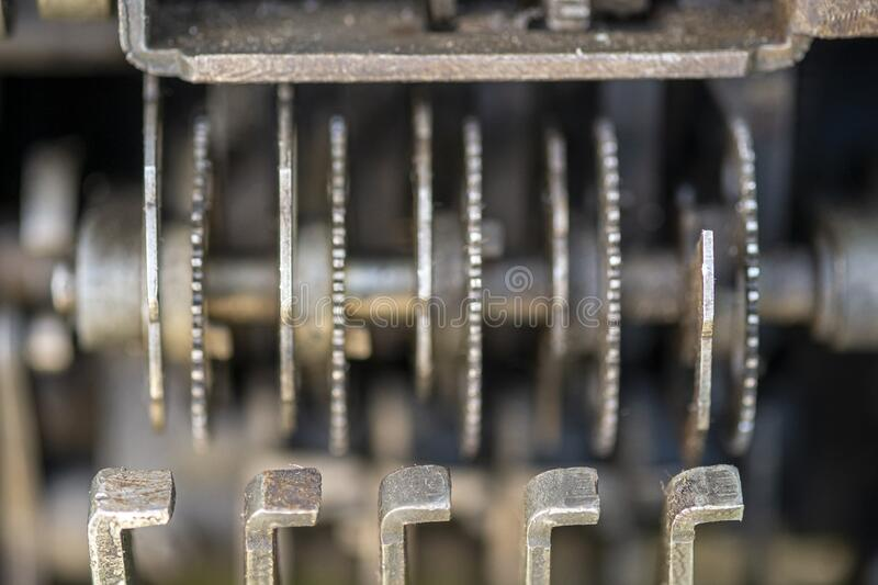 Details inside a old vintage cash register stock photo