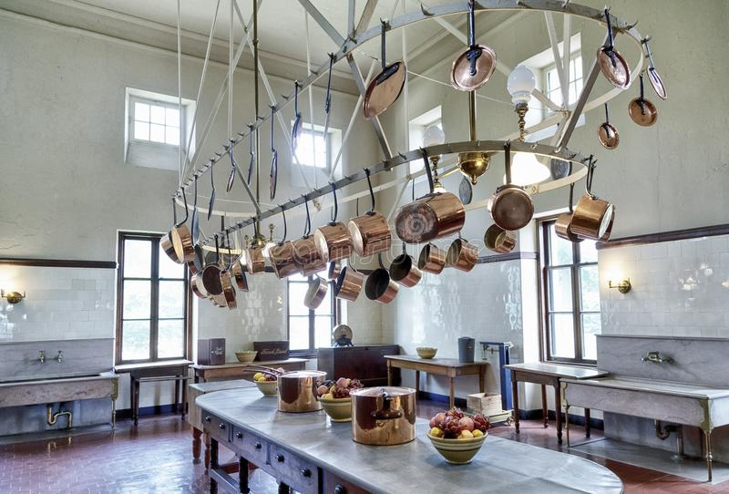 Classic Copper Pots Hanging In Old Kitchen Stock Image ...