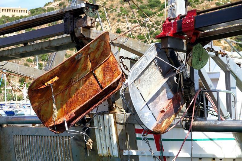 Download Details Of Iron Doors In A Trawler Fishing Boat Docked In Calpe. Stock Image - Image of long, buoy: 104638247