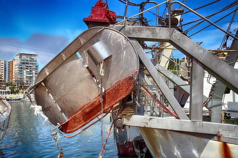 Download Details Of Iron Doors In A Trawler Fishing Boat Docked In Calpe. Stock Photo - Image of fisheries, bollard: 104638250