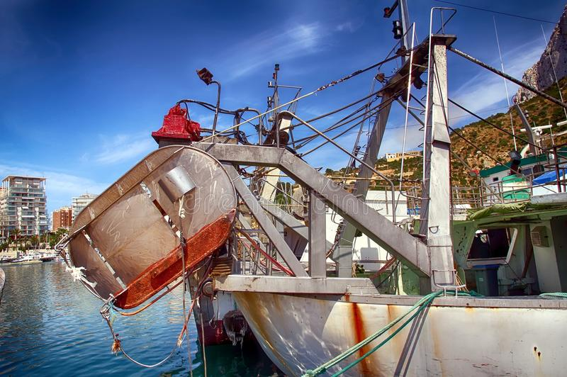 Download Details Of Iron Doors In A Trawler Fishing Boat Docked In Calpe. Stock Photo - Image of docked, bollard: 104638262