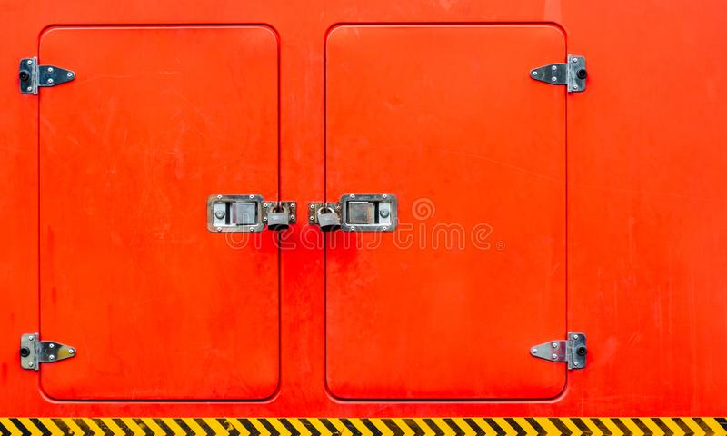 Details of a lockers at fire truck. stock image