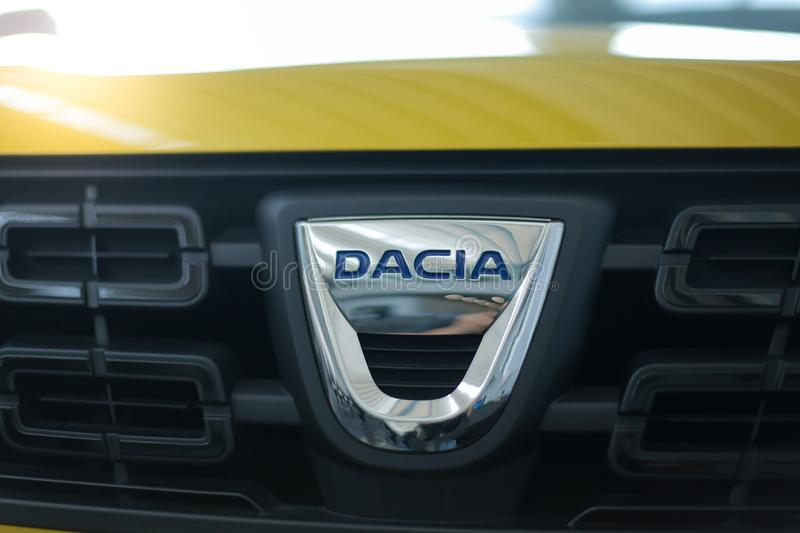 Details with the logo of the Romanian car manufacturer Dacia stock images