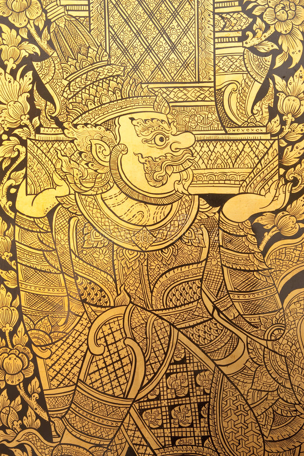Free Details Of Thai Traditional Style Giant Painting. Royalty Free Stock Photos - 8132178