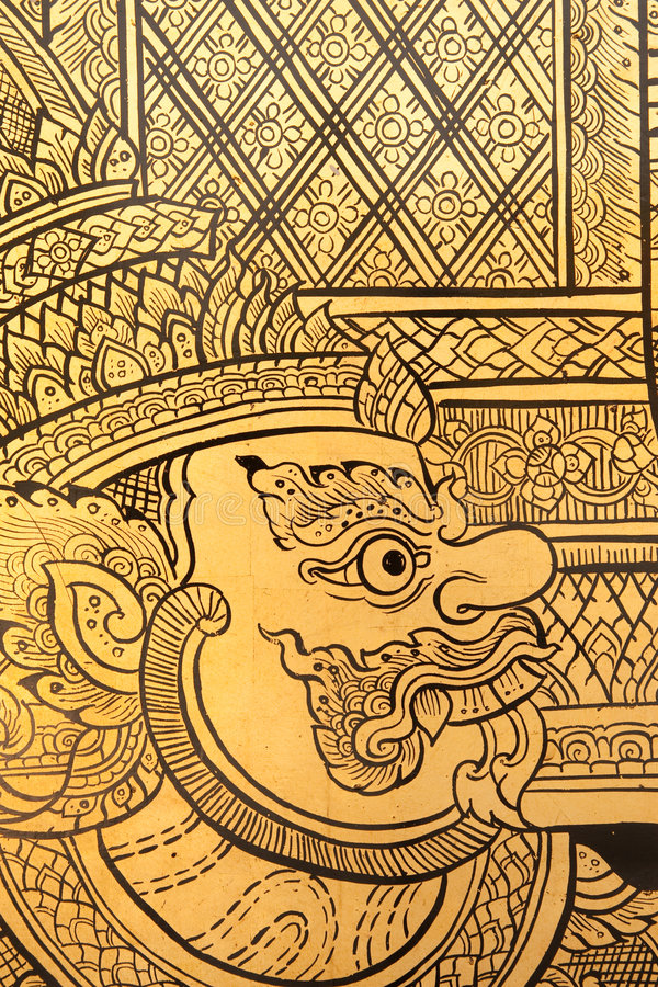 Free Details Of Thai Traditional Style Giant Painting. Royalty Free Stock Photos - 8132348