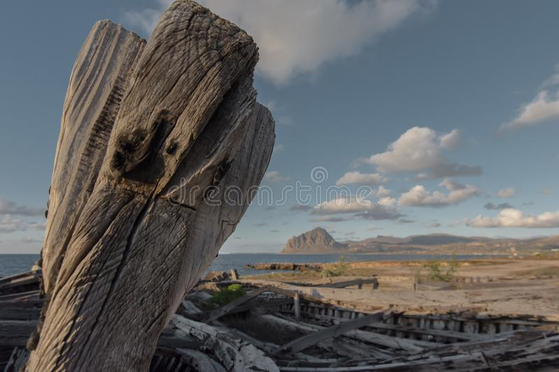 Old Tuna Boats. Details of old tuna boats in Sicily royalty free stock photo