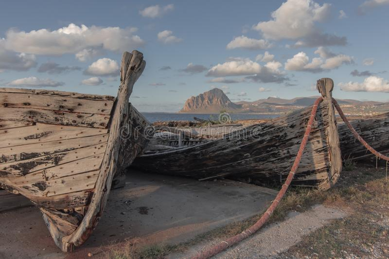 Old Tuna Boats. Details of old tuna boats in Sicily royalty free stock photos