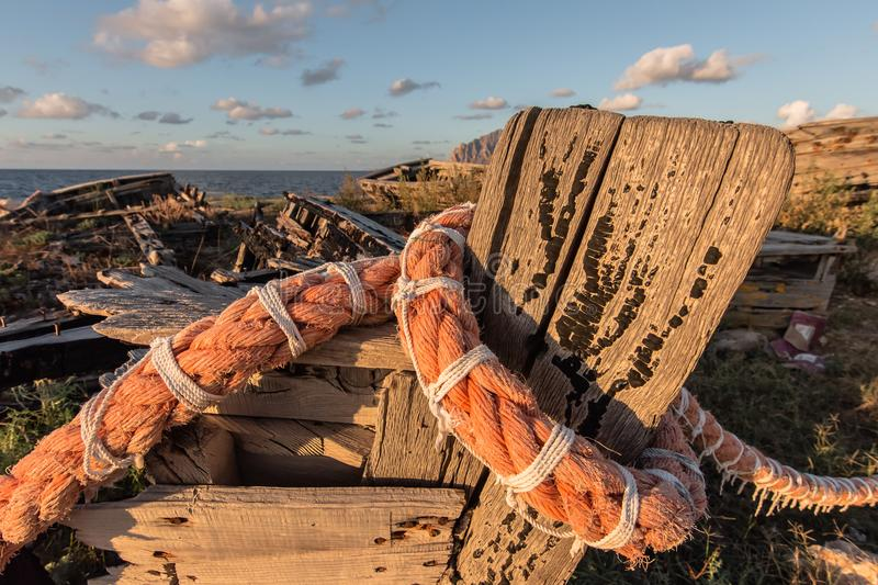 Old Tuna Boats. Details of old tuna boats in Sicily stock photography