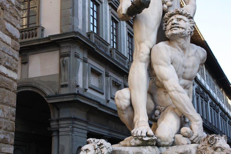 Details op Standbeeld van Hercules en Caco van Baccio Bandinelli, Piazza della Signoria in Florence, Italië stock foto
