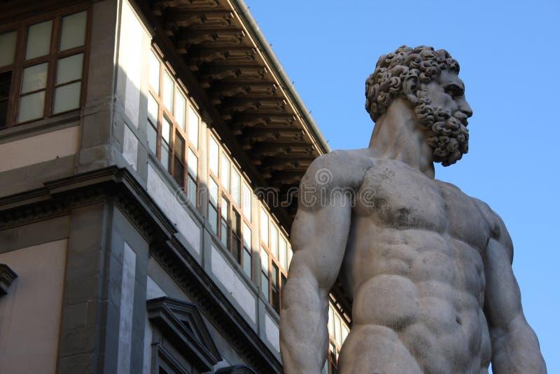 Details op Standbeeld van Hercules en Caco van Baccio Bandinelli, Piazza della Signoria in Florence, Italië royalty-vrije stock afbeeldingen