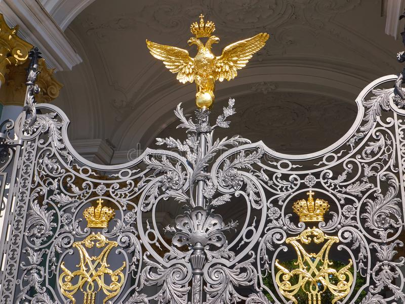 Details of the gates of the State Hermitage Museum. St.Petersburg, Russia stock photos