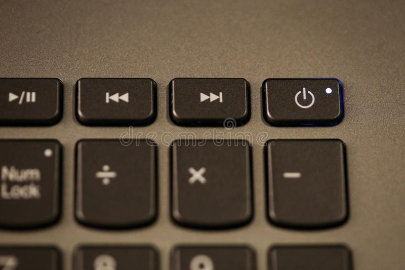 Details with the Power ON/OFF button on a laptop/computer keyboard royalty free stock photography