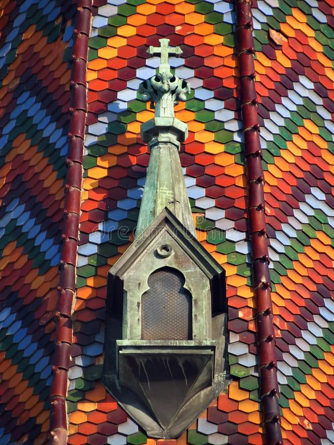 Details on the roof of the church of the name of Mary, tiles with colorful texture royalty free stock image
