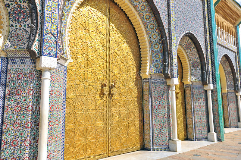 Details of Royal palace, Fes. Morocco stock photos