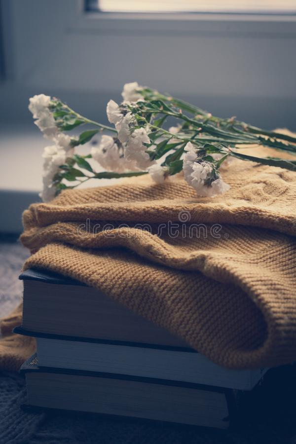 Details of still life in the home interior. Sweater, cup, wool, cozy, book, candle. Moody. Cosy autumn winter concept. Copy space stock photos