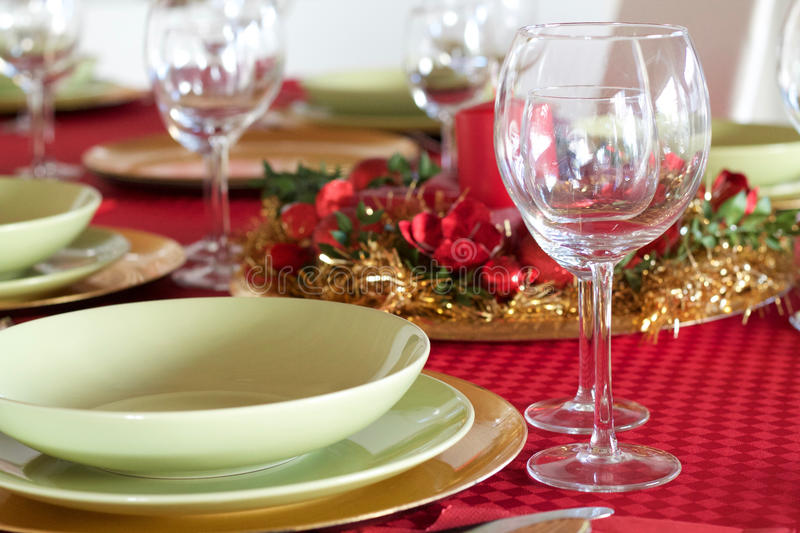 Details of table setting for Christmas festivity. Details of table setting at home for Christmas festivity royalty free stock photography