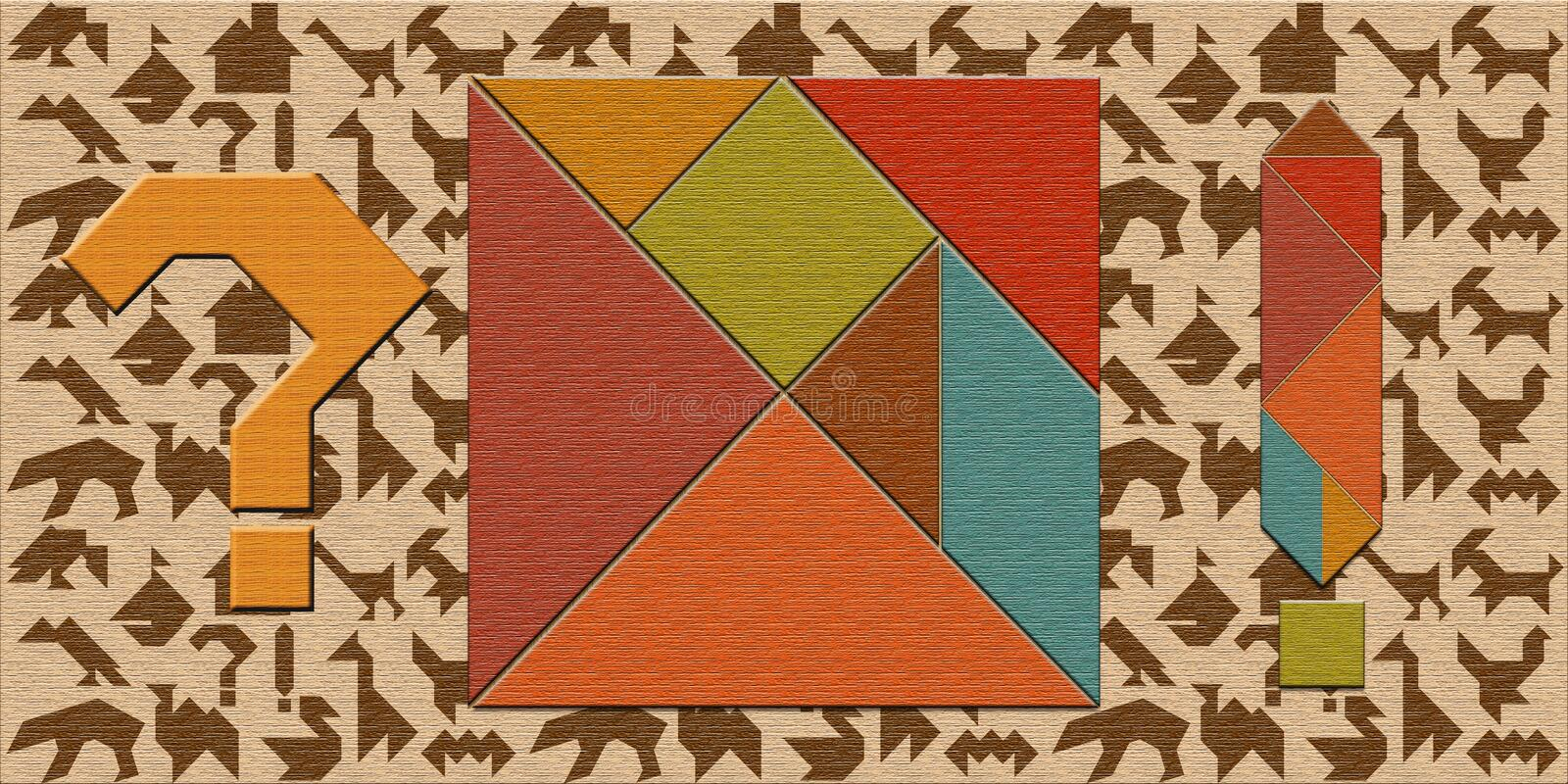 Details of the tangram puzzle and the puzzle game.  royalty free stock photography