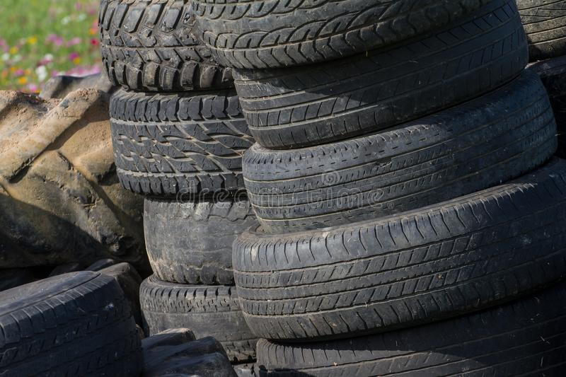 Details texture of old tires in the background. royalty free stock photos