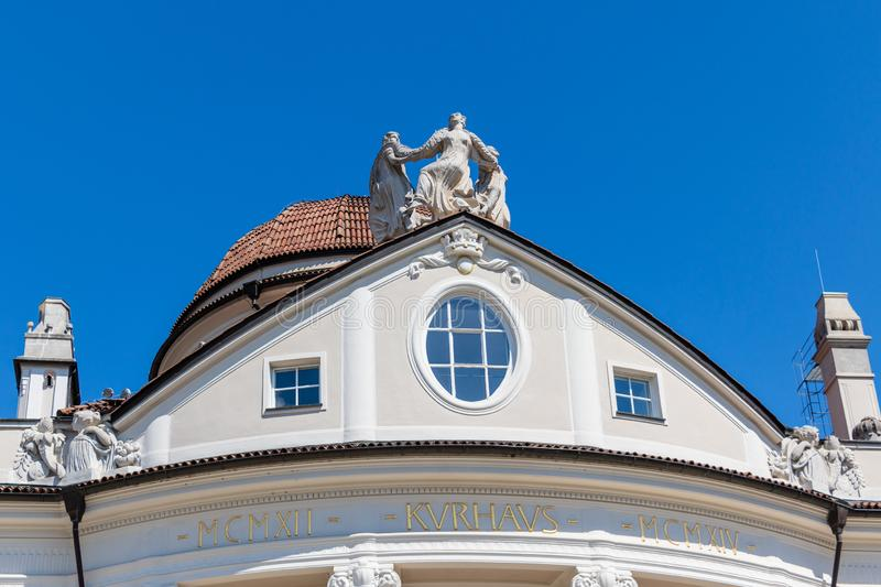 Details of top of Roof with Monument of famous historical Building Kurhaus in Meran. Province Bolzano, South Tyrol, Italy. Europe. The spa town of Merano lies in stock images