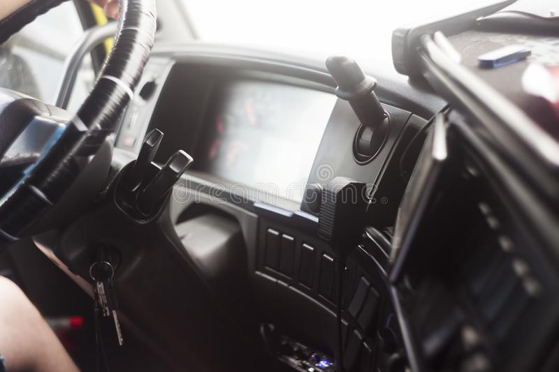 Details of truck interior stock image