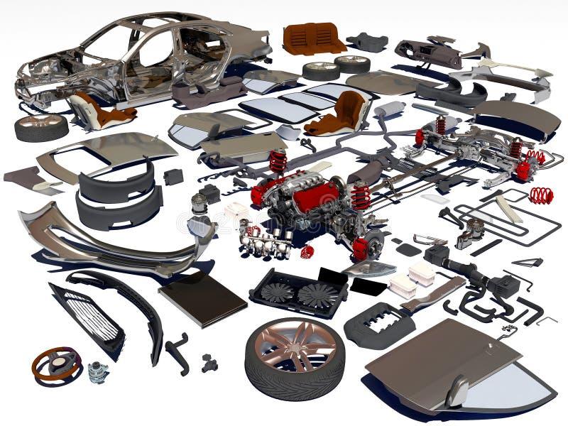 Details van de auto vector illustratie
