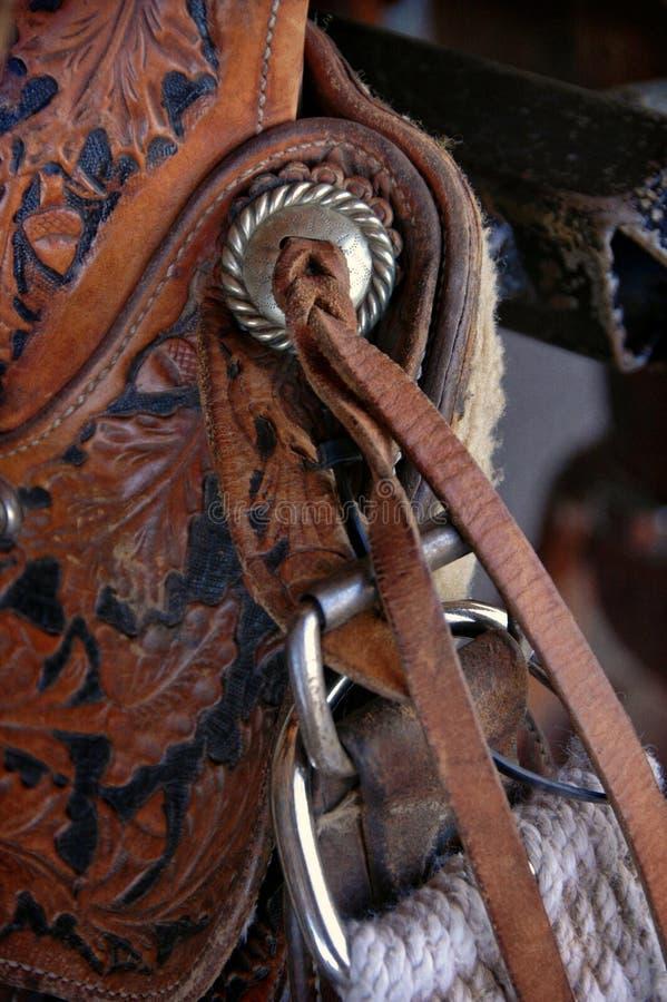Details van een cowboy` s zadel stock foto's