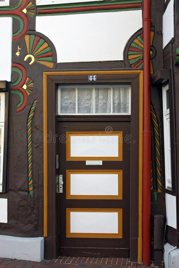 Details van een huis in het centrum van Hameln, in Duitsland stock afbeeldingen