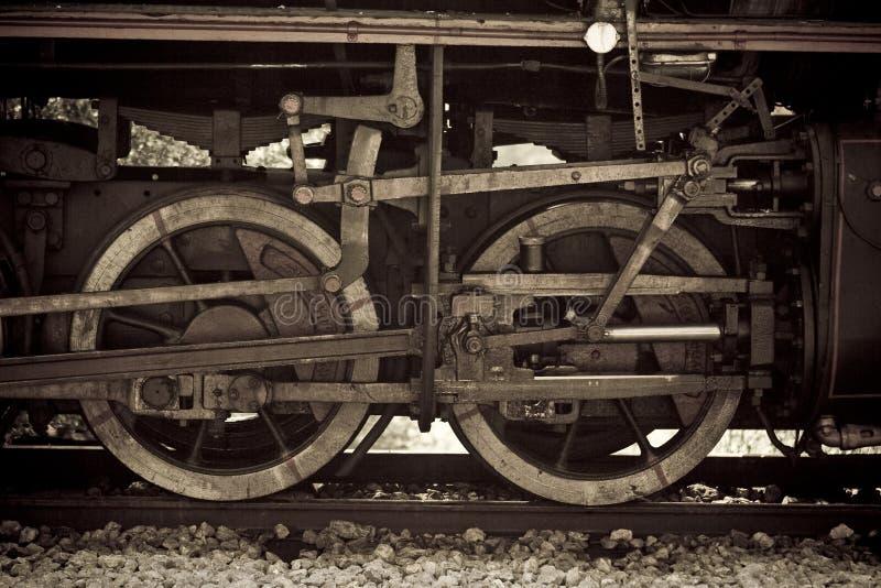 Details van een oude stoomtrein stock afbeelding