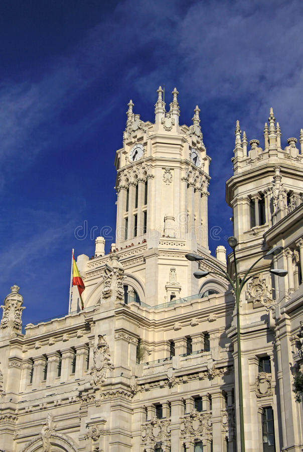 Details van het Telecomunications-Paleis - het Stadhuis van Madrid op Cibeles-vierkant Madrid, Spanje royalty-vrije stock afbeelding