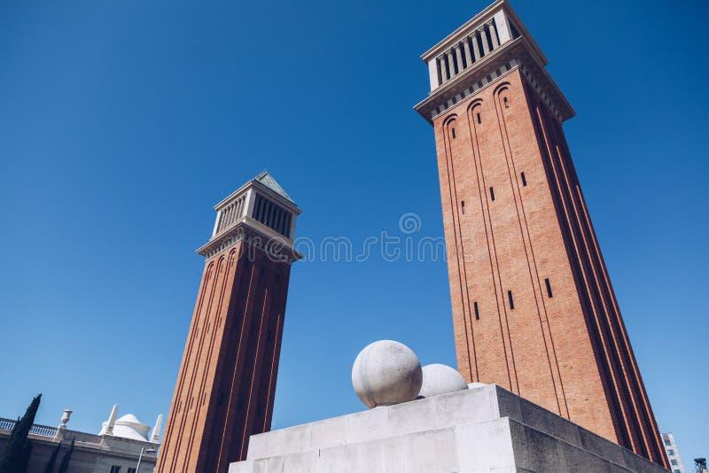 Details van Placa DE Espanya, het Nationale Museum in Barcelona S stock fotografie