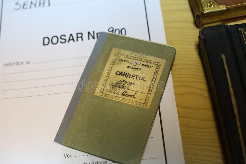 Details van Romania's-het boek van de de schoolnota van KoningsMichael, stock afbeeldingen