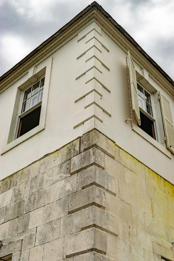 Details van uitstekende architectuur in Rose Hall Great House in Montego Bay stock afbeeldingen