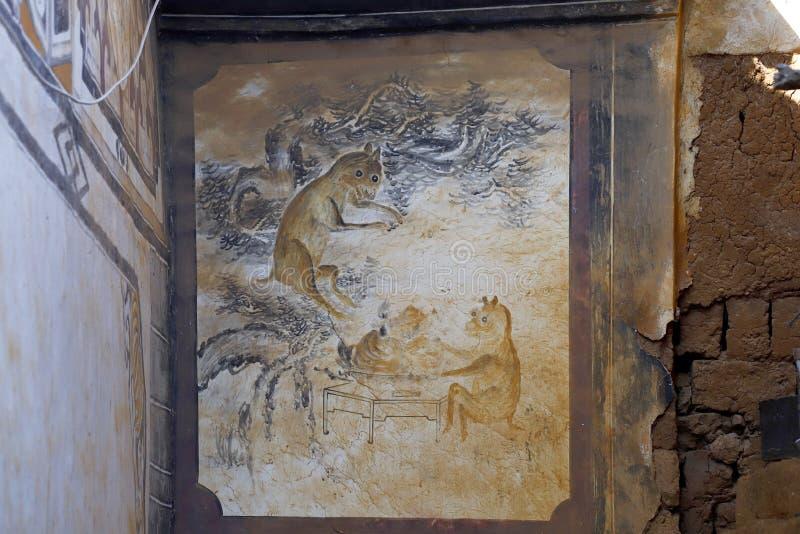 Details von Dekorationen in einem alten Haus in Shaxi-Dorf, Yunnan, China stockfotografie