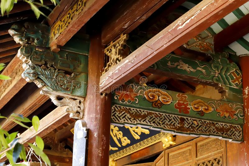 Details von Dekorationen in einem alten Haus in Shaxi-Dorf, Yunnan, China stockfoto
