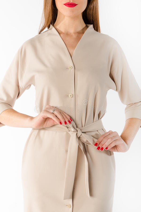 Details von Frauen ` s Kleidung Detailkleid auf einem Modell lizenzfreie stockfotografie