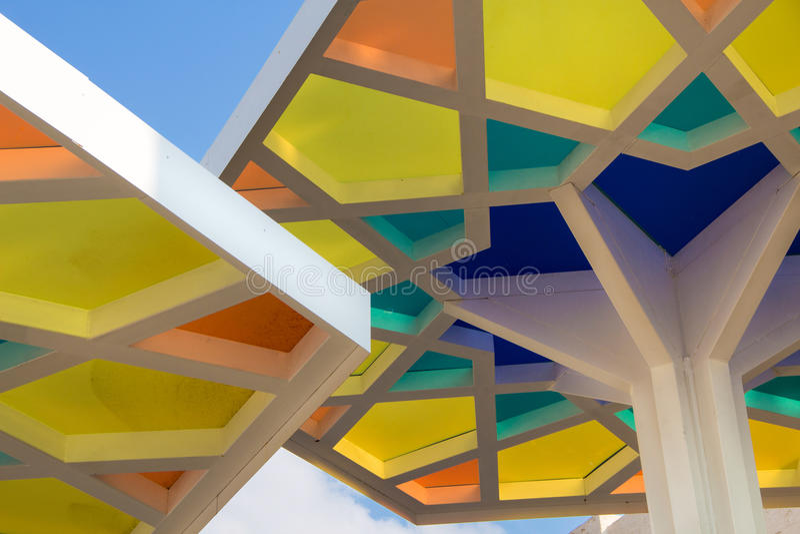Details von Katar-Pavillon an Ausstellung 2015 stockfotografie