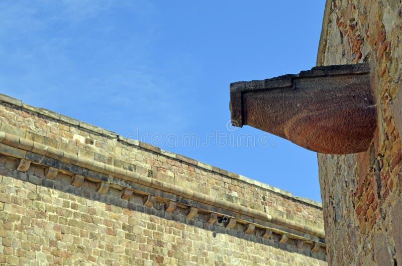 Details von Montjuic-Schloss, Barcelone, Spanien stockfotos