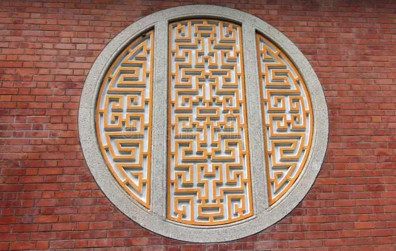 Details on Wall of Heritage Chinese Mansion. Details of Chinese Traditional Patterns on Wall. Heritage Chinese Mansion King Yin Lei in Hong Kong China. Declared royalty free stock photo