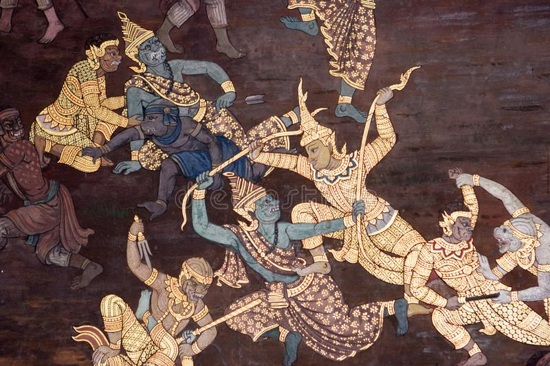 Wall paintings depicting the myth of Ramakien in the Wat Phra Kaew Palace, also known as the Emerald Buddha Temple. Bangkok, Thail. Details of the wall paintings royalty free stock photography